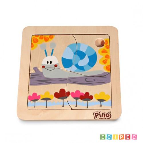 PINO Mini-slagalica 4 elementa Puž