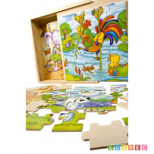PINO Drvene Puzzle u kutiji (20x4 el) vesele životinje -Oštećena ambalaža