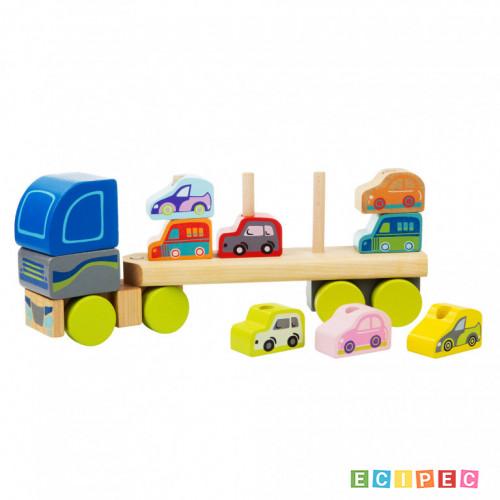 CUBIKA Drveni Kamion sa autićima (12 elemenata)