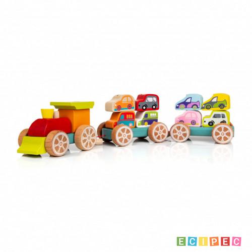 CUBIKA Drveni Vozić sa autićima (14 elemenata)