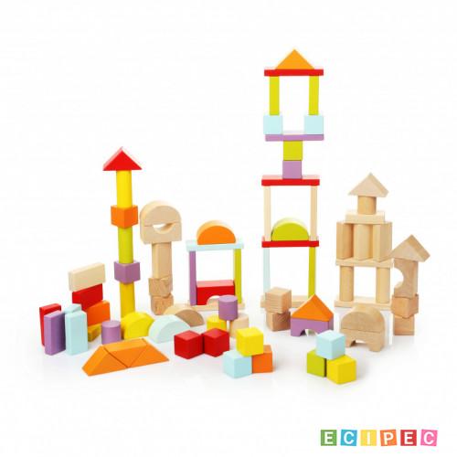 CUBIKA Drvene Kocke Blokovi (80 elemenata)