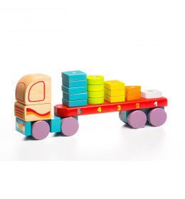 Cubika Drveni kamion sa geometrijskim figurama (19 elemenata)
