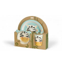 BIGBAMBOO Set za hranjenje od bambusa - ZEBRA (5 djelova)